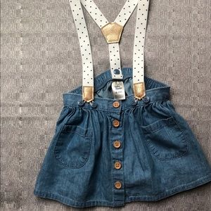 OSH KOSH - Baby Girl Denim Skirt Suspenders NWOT